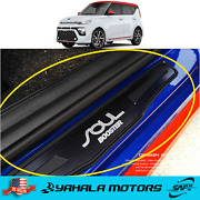 2pcs Door Plate Cover Panel Step Scuff Protector Black For Kia Soul 2020-2021