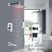 Chrome Ceiiling Mount 16 Inch Led Rain Shower Faucet Set System Andhand Shower