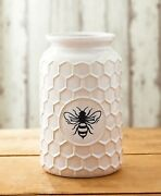 Farmhouse White Bee Hive Vase Jar Floral Country Honey Spring Cottage Home Decor