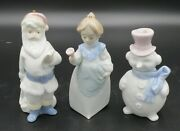 3 Christmas Lladro Figurine Ornaments Santa Clause, Mrs. Clause And Snowman Exc