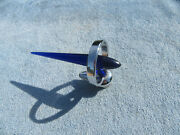 1946 47 48 Ford Buick V8 Accessory Hood Ornament Blue Insert