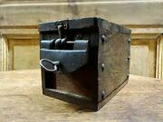 Wooden Coin Bank With Key Vintage Antique Size 16cm X 11cm Used