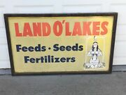 Land O Lakes Metal Sign Woodframe, Approx 6' Feed Seed Fertilizers Large Antique