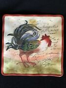 """Susan Winget Rooster Platter Certified International Square Scalloped Edge 8""""x8"""""""