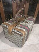 Vintage Auth Brown Train Case Luggage Bag Doctor Travel Leather Gg Logo