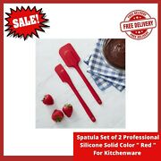 Spatula Set Of 2 Professional Silicone Solid Color Red For Kitchenware