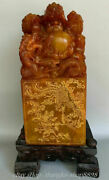 14 Old China Red Shoushan Stone Carving Five Dragon Bead Phoenix Seal Stamp