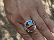 Navajo Ring Turquoise Inlay Hallmark John Mike Sterling Silver Jewelry 10.5 Us