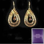 Earrings Suzanne Somers For Parties With Topaz In 2 Tones,champagne And Amber