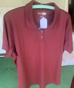 Women's Xlarge Maroon Polyester Snap Polo Shirt, Nwt By Cornerstone Msrp 21