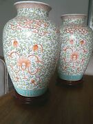 A Large Pair Of Chinese Decorated Dynasty Country House Ceramic Jar Vases