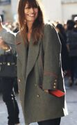Isabel Marant Coat David Military Double Breasted Gray Red Fr42 Nwt Fw12 Runway