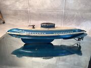 1940and039s Vintage Wolverine Usa Wind Up Tin Lithograph Toy Submarine