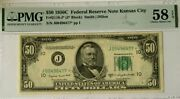1950c 50 Federal Reservestar Note Kansas Cty Pmg58 Epq Choice About Unc..3812