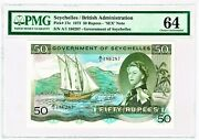 Seychelles 50 Rupees 1.8.1973 Pick 17e Pmg Choice Uncirculated 64.