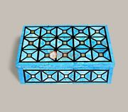 Marble Real Stone Jewelry Organizer Box Turquoise Inlaid Art Beautiful Gifts Her