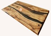 Black Resin River Dine Center Table Handmade Acacia Wooden Working Table Decors
