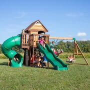 Wooden Swing Set Kids Play Slide Swings Playground Outdoor Cedar Cove Clubhouse