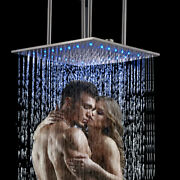 20 Inch Led Rainfall Shower Head Top Sprayer Ceiling Mounted Brushed Nickel