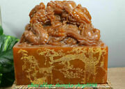 9.8collect Old China Dynasty Natural Shoushan Stone Fengshui Dragon Seal Stamp