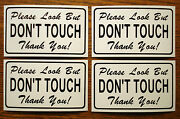 4--please Look But Don't Touch 100 Magnetic Signs For Your Classic Car Blac/whi