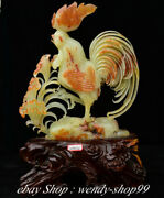 21 China Natural Xiu Jade Carving Feng Shui Rooster Cock Luck Sculpture