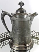 E.g. Webster And Sons Pitcher Tea Pot Quadruple Plate Antique 12 In Height 0523