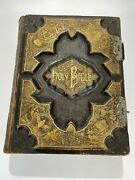 1884 Large Hardcover Holy Bible Pictorial Leather Bound Old And New Testament