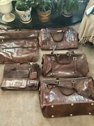 Vintage 5 Piece Bally Brown Leather Luggage Set New
