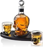 850ml Whiskey Decanter Skull Set W 2 Cocktail Shot Glasses For Scotch And Bourbon