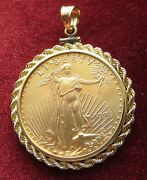 1998 50 Dollar 1oz American Eagle Gold Coin In A 14k Rope Bezel See Photos