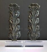 Pair Of Neoclassical 19th Century Cast Metal Large Architectural Acanthus Leaves