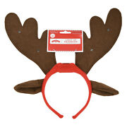 Holiday Time Adult Light-up Reindeer Antler/ears Red Headband-one Size Fits Most