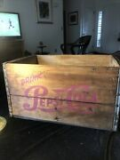 Vintage Andldquodrink Pepsi-cola Wooden Crate With Metal Supports Soda Advertising Rare