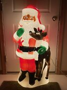 Vintage 2000 Tpi Blow Mold Santa Claus Reindeer Candy Cane Christmas 40 Tall