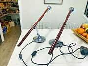 Beautiful Mid Century Modern Pair Of Rosewood And Stainless Steel Table Lamps