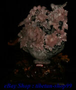 Old Natural 100 Real Pink Jade Magpie Bird Peach Flower Basket Potted Plants