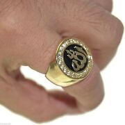 Religious Jewelry Allah Islamic Gold Plated 925 Silver Ring With Black Enamel