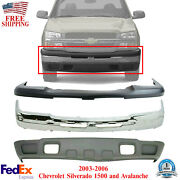 Front Bumper Chrome Steel Kit For 2003-2006 Avalanche And Chevrolet Silverado 1500