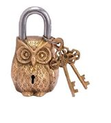 Brass Owl Lock -padlock/for Home Decor And Security With 2 Keys