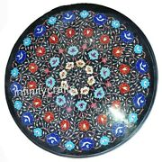 25 Inches Marble Coffee Table Top Inlay Multi Color Stones Patio Table For Lawn
