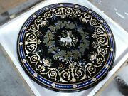 50 Inches Marble Dining Table Top Semi Precious Gemstones Inlaid Coffee Table