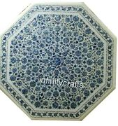 40 Inch Marble Dining Table Top Inlay Floral Design Royal Look Restaurant Table