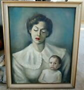 Beautiful Antique Vtg Portrait Oil Painting Of Mother And Child O/c Signed Framed