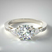 14k White Gold Solitaire Natural 1.10 Ct Round Cut Diamond Wedding Ring Size 6 7