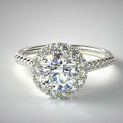 Halo Round Cut 0.94 Ct Real Diamond Engagement Ring 14k White Gold Size 6 7 8 9