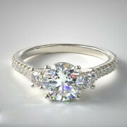 14k Solid White Gold Brilliant Cut 1.10 Ct Real Diamond Engagement Ring Size 8 9