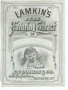 1870s A. Hoen And Co. Victorian Bottle Label Lamkin's Pure Flavoring Extract