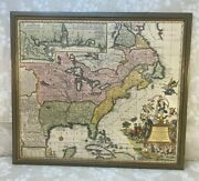 Antique Map North America And Caribbean Matthaus Seutter Hand Colored 1740 Framed
