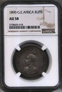1890 German Empire East Africa Silver Rupie Currency Coin Wilhelm Ii Ngc Ms 58